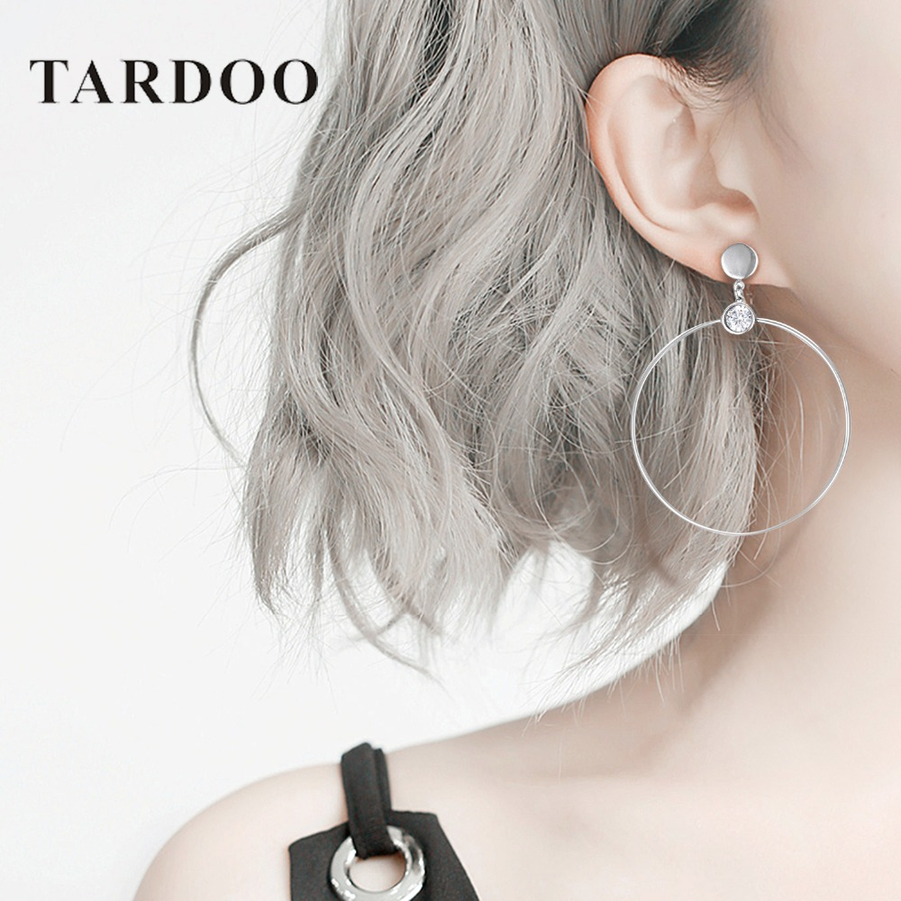 Tardoo Big Circle Hoop Earrings 925 Silver Trendy White Zircon Round Circle Geometric Hoop Earrings Fine Jewelry For Women tardoo crossed double circle necklace 925 silver simple double circle gold necklace women fine jewelry hoop pendant necklace