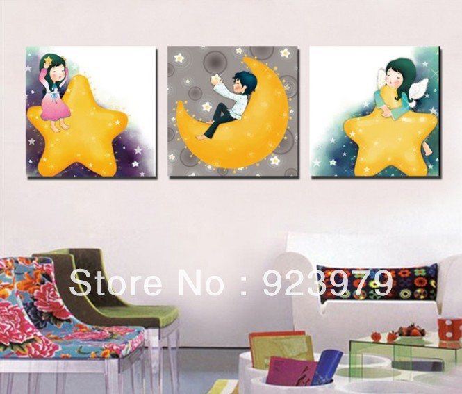 3panels living room decorative canvas painting stars baby modern picture print art picture on canvas prints