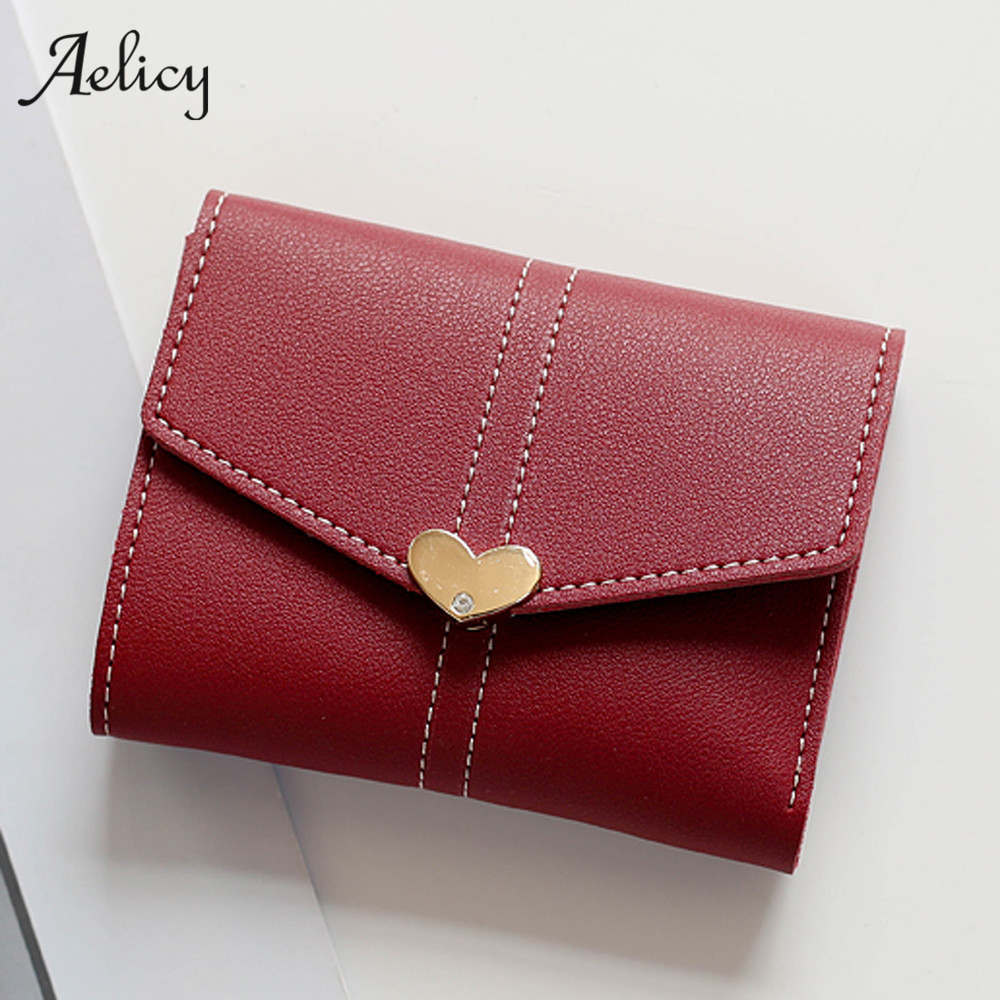 Aelicy Wallet Female Heart Shaped Lady Short Women Wallets Mini Money Purses Fold PU Leather Bags Female Coin Purse Card Holder leeshang marvel captain america bi fold wallet dft 1007a for dft 1995 fold mini small wallet