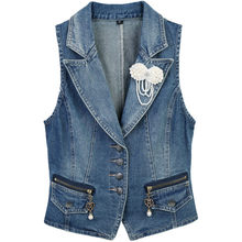 Plus size 3XL Women Denim Vests Spring Sleeveless Casual Tops Suit collar Female Waistcoats Denim Short Jackets Female clothing(China)