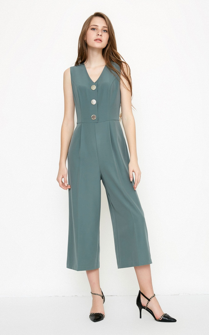 Vero Moda spring fashionable V-collar loose-leg cropped Jumpsuits for women |318144507 12