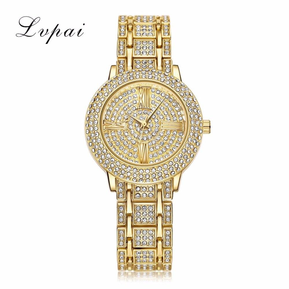9e2d149f79ef ⊱LVPAI Бренд Класса Люкс Браслет Часы Женщины Золотые Часы Из ...