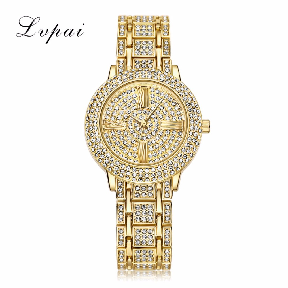 цены LVPAI Brand Luxury Bracelet Watch Women Gold Watches Stainless Steel Dress WristWatches Women Fashion Luxury Watch Quartz Watch
