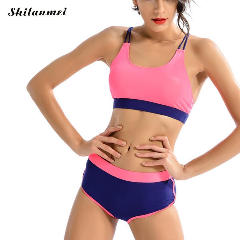 Pink Bikini Set 2017 New Swimwear Set Women Low Waist Cross Double Halter Swimsuit Sexy Mesh Summer Bathing Suits Beachwear sexy black halter low waist wrap bikini for women