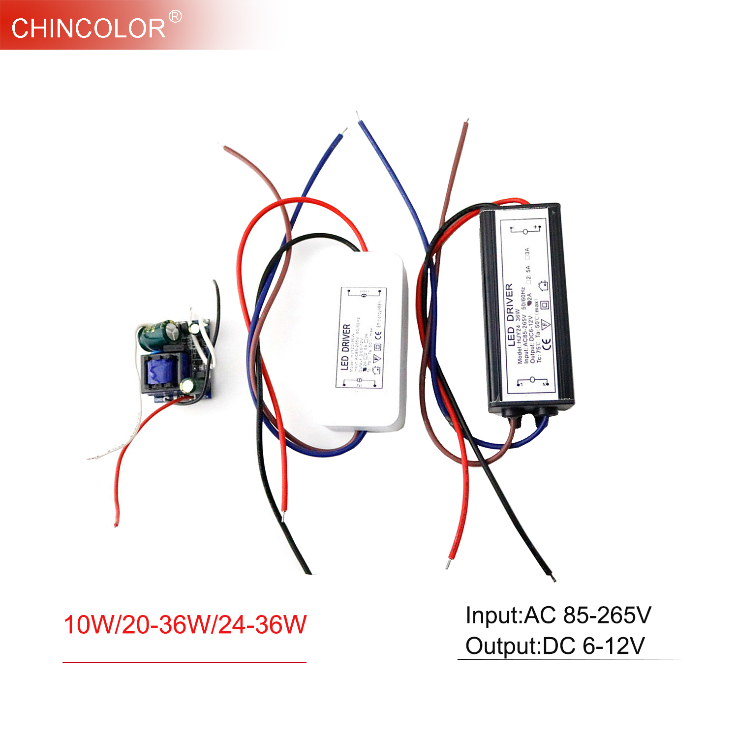 <font><b>LED</b></font> <font><b>Driver</b></font> Transformer Power Supply 10W 20-36W 24-36W <font><b>6V</b></font> - 12V 600mA 2A for 3*3W Input AC85-265V Spot Light Flood Light JQ image