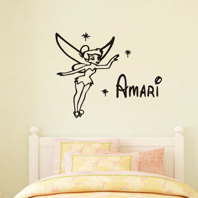 Tinkerbell Wall Stickers Custom Name Available Baby Nursery Wall Sticker  Vinyl Removable Wall Decals Bedroom Art
