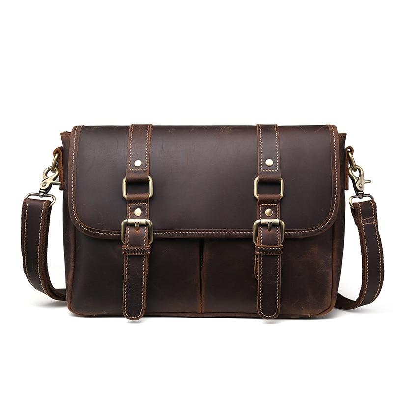 YISHEN Fashion European And American Style Men Crossbody Bags Crazy Horse Leather Men Business Messenger Bag Shoulder Bag LS9009