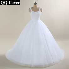 QQ Lover 2018 Nuevo Vestido de boda del vestido de bola de las correas de espagueti Vestido De Noiva Vestido de boda nupcial completo del rebordear