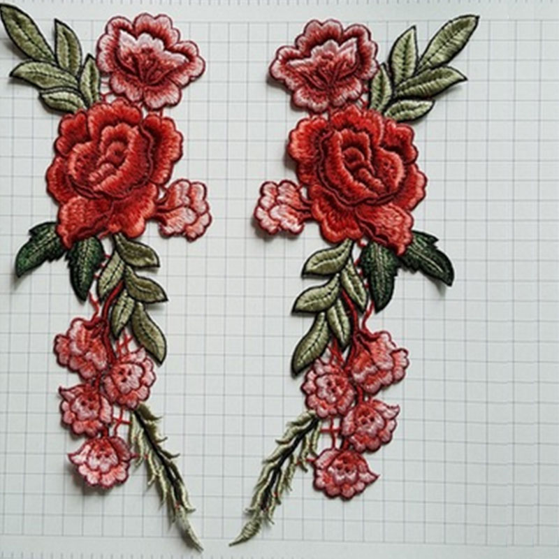 Rose Flower Patch Embroidered Sew on Floral Collar Dress Craft Applique Badge