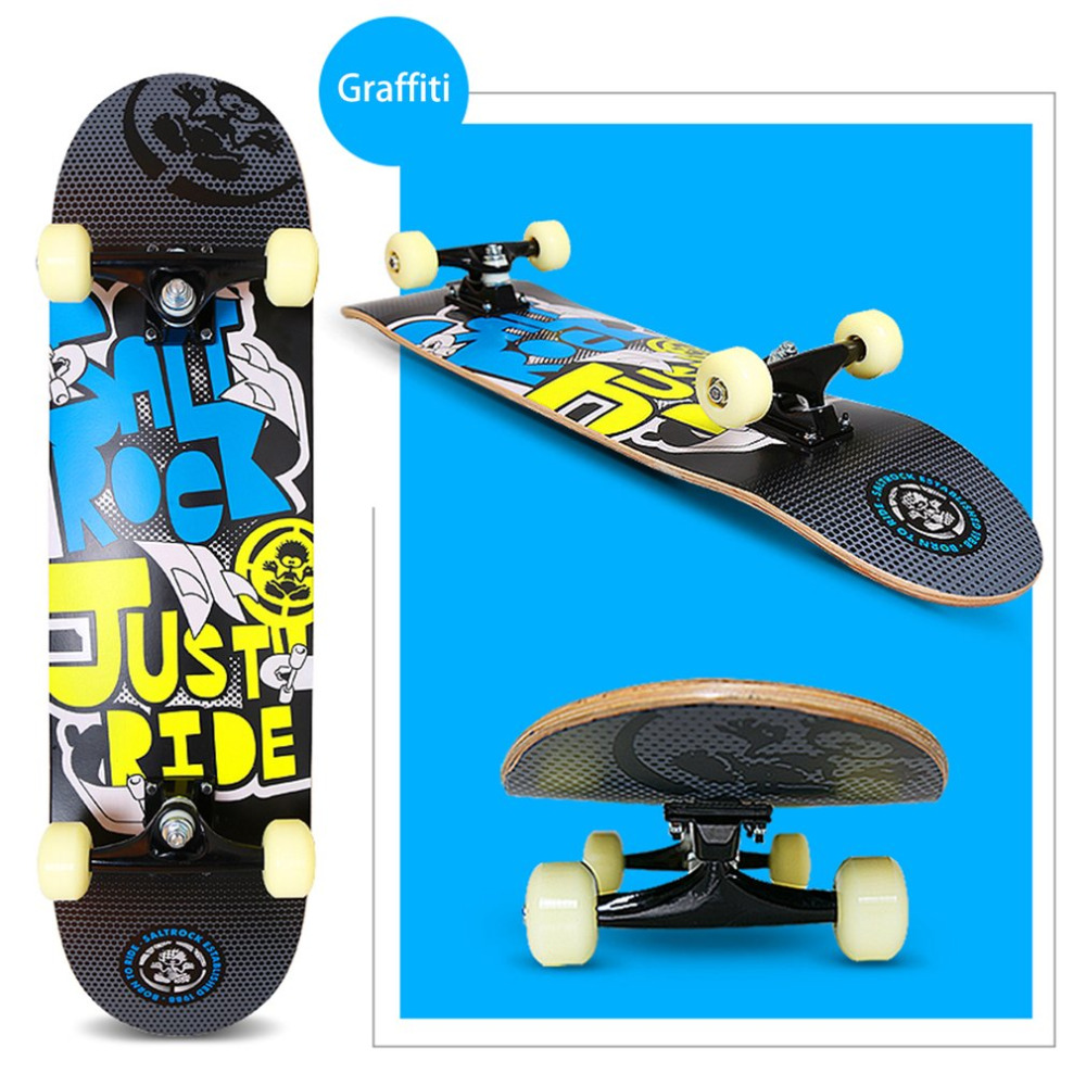 цена Four-wheeled Skateboard Maple Wood Material Freestyle Skateboard Skate Deck Long Board Cool Adult Teenager Skateboards