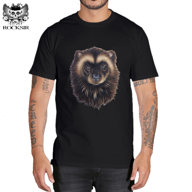 Rocksir Customize print black t-shirt strong hardy aggressive fearless animal t-shirts Mens T-shirts cotton t shirt Men tops