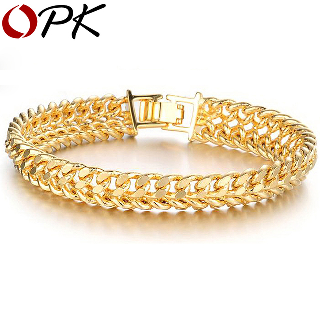 OPK JEWELLERY Wholesale price 11mm Luxury Gold Color chain bracelets for man.fashion jewelry 158