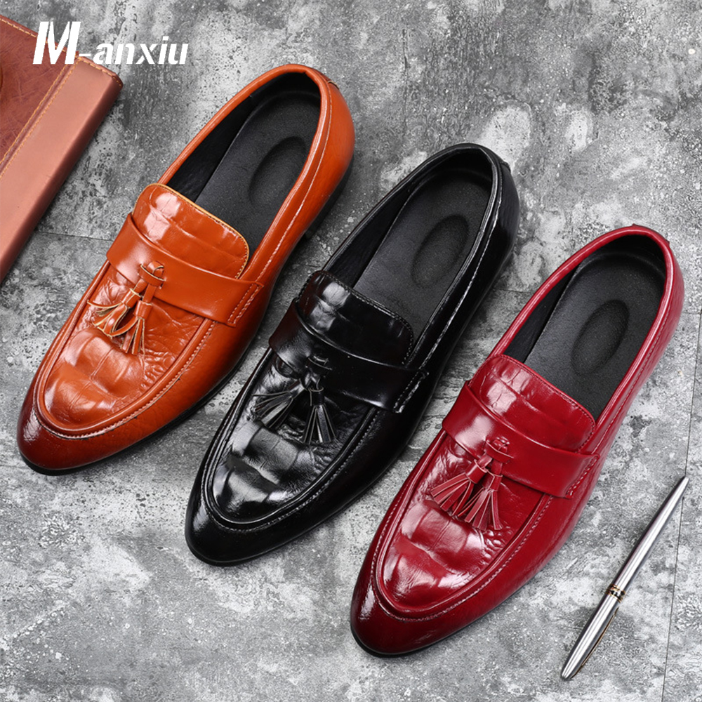 M-anxiu Men Shoes Fashion Leather Doug Casual Flat Tassels Slip-On Driver Dress Loafers Pointed Toe Moccasin Wedding Shoes fashion tassels ornament leopard pattern flat shoes loafers shoes black leopard pair size 38
