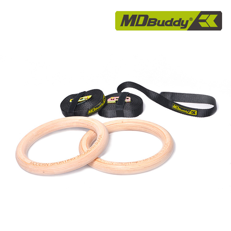 Nouveaux anneaux de gymnastique portables réglables anneaux de remise en forme en bois pour les exercices d'entraînement de force équipement de gymnastique musculaire