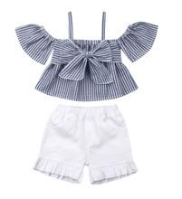Girls Clothing Sets Baby Girl Tshirt Short Sleeve Striped Top+ruffle Baby Shorts Summer 2 Piece Set Girl girls layered ruffle striped top