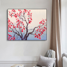 Laeacco Colorful Flower Canvas Painting Abstract Tree Red Floral Posters and prints Room Decoration Wall Art Home Decor Picture недорого