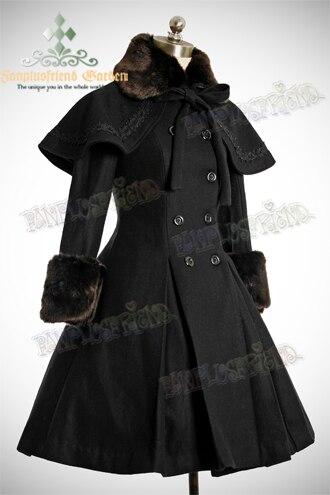 Mignon Manteaux Noir rose Top Tous Long Les Manteau Vente D'hiver Taille Hiver Longs Chaud Lolita Y6bygf7