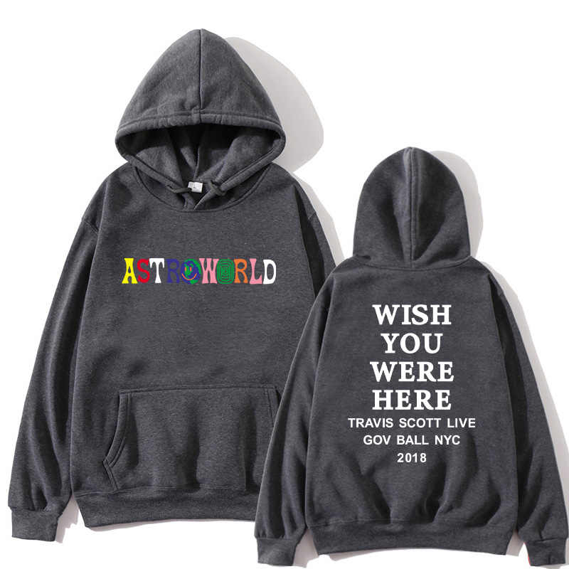 2019NEW Men hoodies Travis Scott Astroworld WISH YOU WERE HERE Sweatshirt Men fashion letter print Hoodie Men and woman Pullover