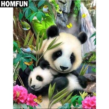 HOMFUN Full Square/Round Drill 5D DIY Diamond Painting Animal panda Embroidery Cross Stitch Home Decor Gift A03842