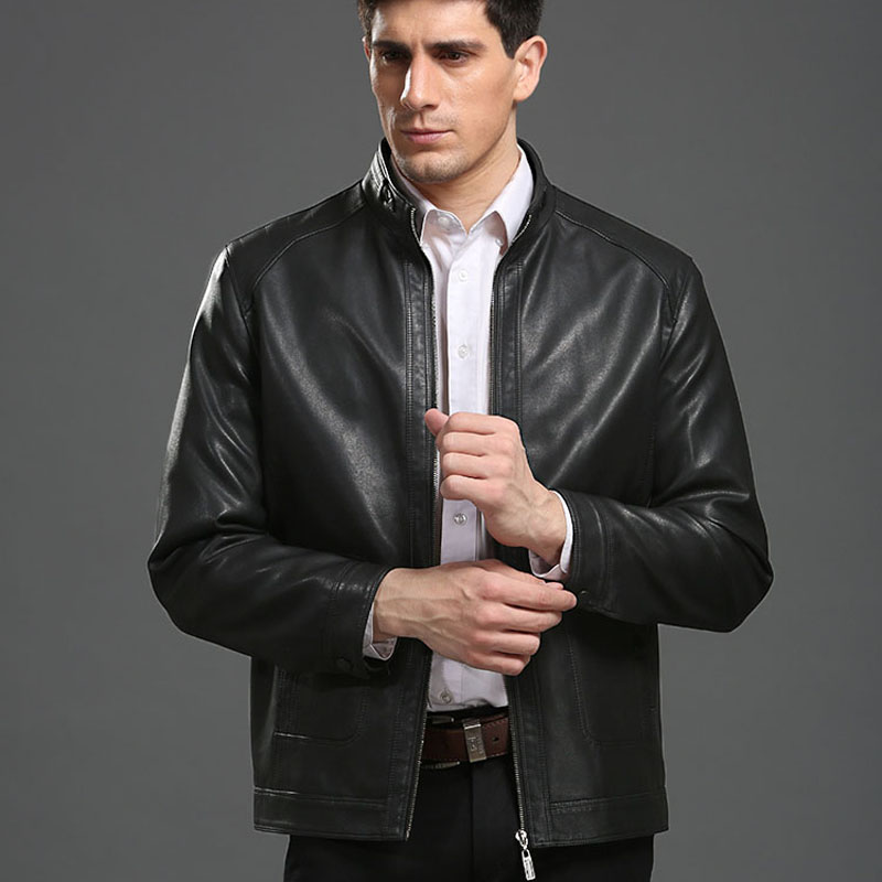 Men Genuine Leather Jacket 2019 New Spring And Autumn Zipper Pockets Male Motorcycle Sheepskin Leather Jacket Father Outwear