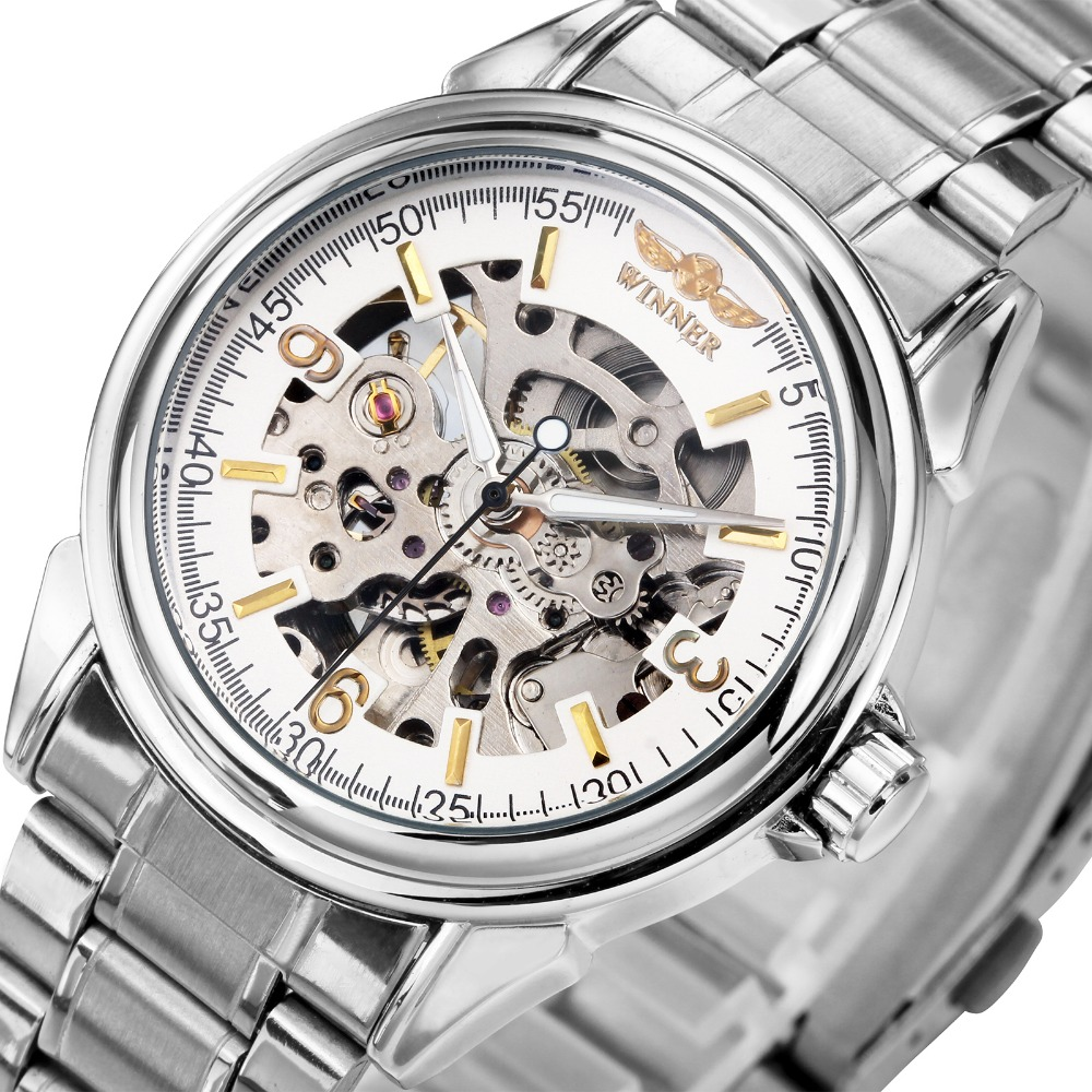 2018 WINNER Fashion Men Women Watches Automatic Mechanical Wristwatch Silver Stainless-steel Band Unisex Skeleton Gift for Lover