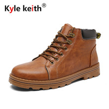 Kyle Keith Brand Winter Mens Boots, Black Brown Khaki Fashion Lace Up Man Shoes Ankle Boots Warm Casual Outdoor Walking Shoes