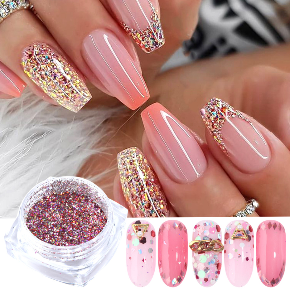 Image 2 - 8 Box Mix Glitter Nail Art Powder Flakes Set Holographic Sequins for Manicure Polish Nail Decorations Shining Tips LA1506 05 1-in Nail Glitter from Beauty & Health