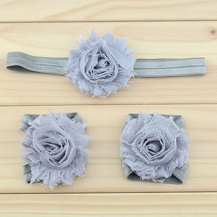 """Украшение для детей, повязка на голову, повязка для малышей цветы в стиле """"шэбби шик"""" повязка на голову босоножки ботинки и набор повязок для новорожденных; детская одежда для девочек аксессуары для волос - Цвет: grey"""