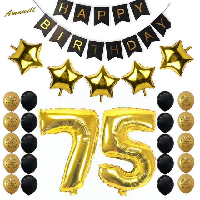 Amawill 75th Birthday Party Decoration Kit Happy Banner 32inch Gold Balloon Years Old Supplies 65D