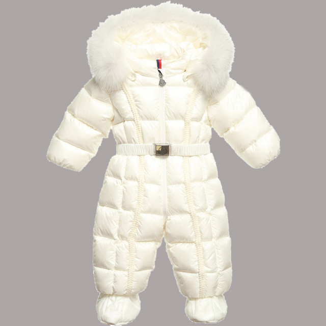 88032cc5f205 2015 New Baby Rompers Winter Boys girls 90 White Duck Down Jumpsuits Kids  Fur Collar Hooded Jumpsuit Children Outerwear Snowsuit
