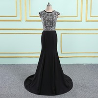 Vinca sunny 2018 New Black Luxury Arabic Vintage Prom Dresses Elegant Sexy Mermaid Crystal Amazing Formal Evening Gown