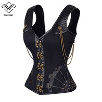 Steampunk Corset Gothic Leather Corset Corsages Sexy Corsage Corzzet Corselet Corsets Steel Straitjacket Bodice Waste Trainer