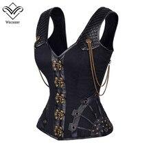 Steampunk espartilho de couro gótico corpete corpete corsage sexy espartilhos de aço straitjacket corpete waste trainer
