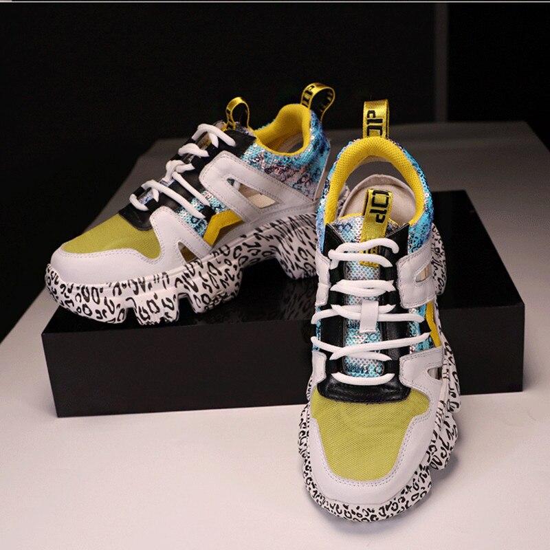 MStacchi Graffiti Hakken Vrouw Sneakers Mesh Hollow Leather Chunky Platform Sneakers Dames Kleurrijke Lace Up Schoenen Klimplanten Schoenen-in Sneakers voor vrouwen van Schoenen op  Groep 3