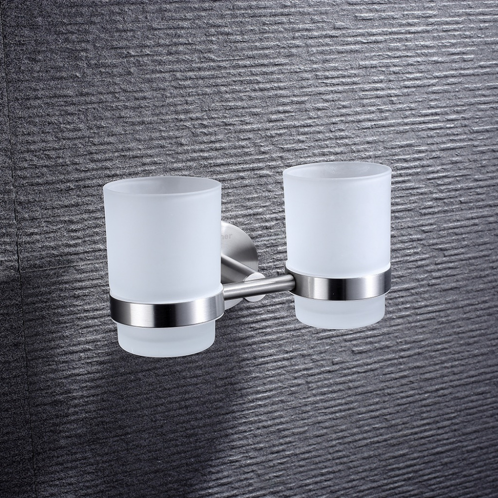 Finether Double Frosted Glass Toothbrush Tumbler Holder Stainless Steel Wall  Mounted Chrome Finish Bathroom Accessories(