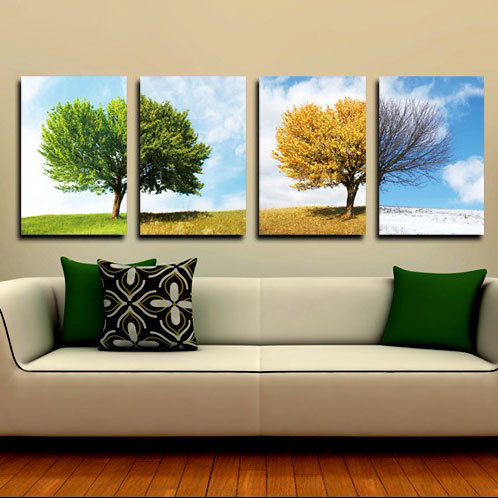 4 Piece Season Tree Landscape Wall Art Canvas Painting Home Decor Wall Picture For Living Room Modern HD Prints No...  wall art 4 seasons   Four Seasons Tree Craft With Template – paper crafts ideas  font b 4 b font Piece font b Season b font Tree Landscape font b