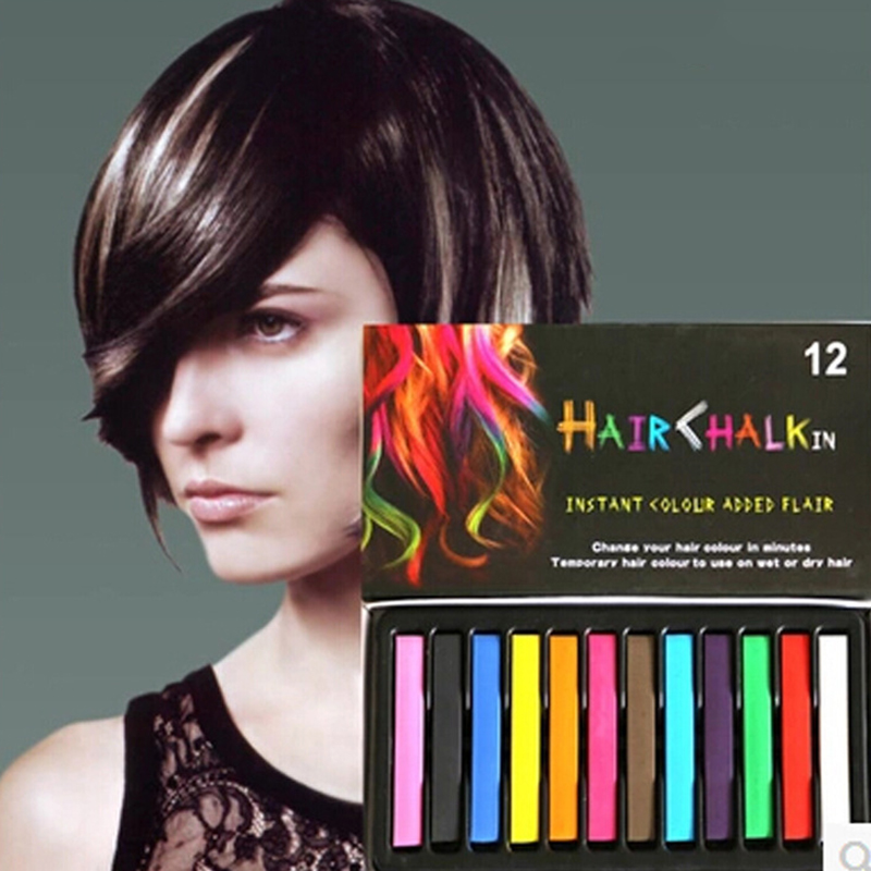 2017 Fashion 12 Colors Pins Non Toxic Temporary Pastel Hair Square Hair Dye Color Chalk Hot
