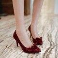 Plus size 34-48 mulheres bombas dedo apontado sapatos de salto alto mulheres salto baixo sapatos de casamento das mulheres dos saltos de estilete vermelho preto bombas