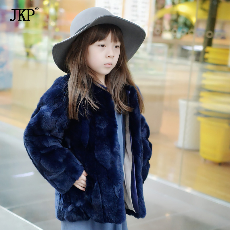2018 Kids Girls Real rex rabbit Fur Coat Winter Children rabbit fur Outerwear Jacket Warm baby fur coat Clothing