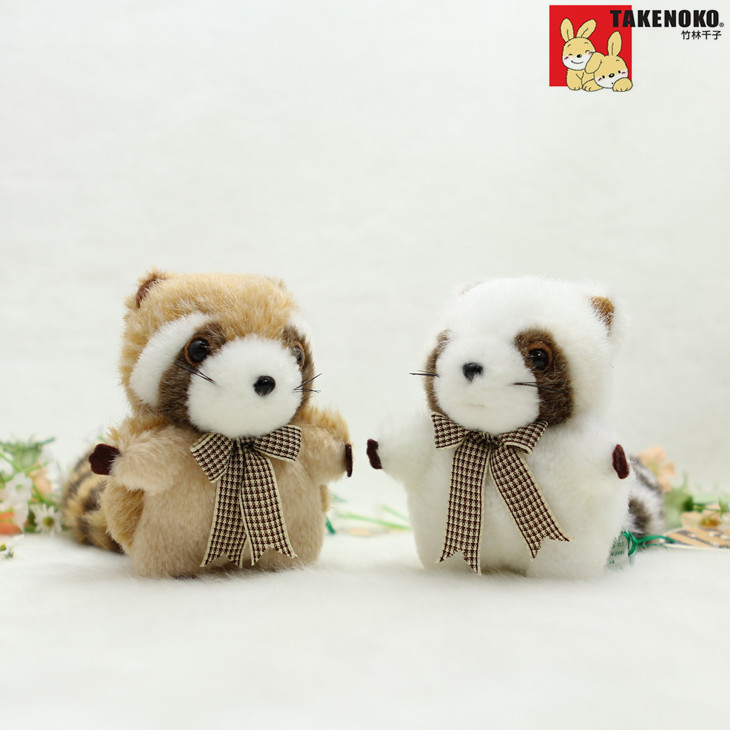 Free shipping Plush  toys Cute keychain pendant Mini raccoon bag ornaments Car decoration accessories  Lovely gift one pair Sale