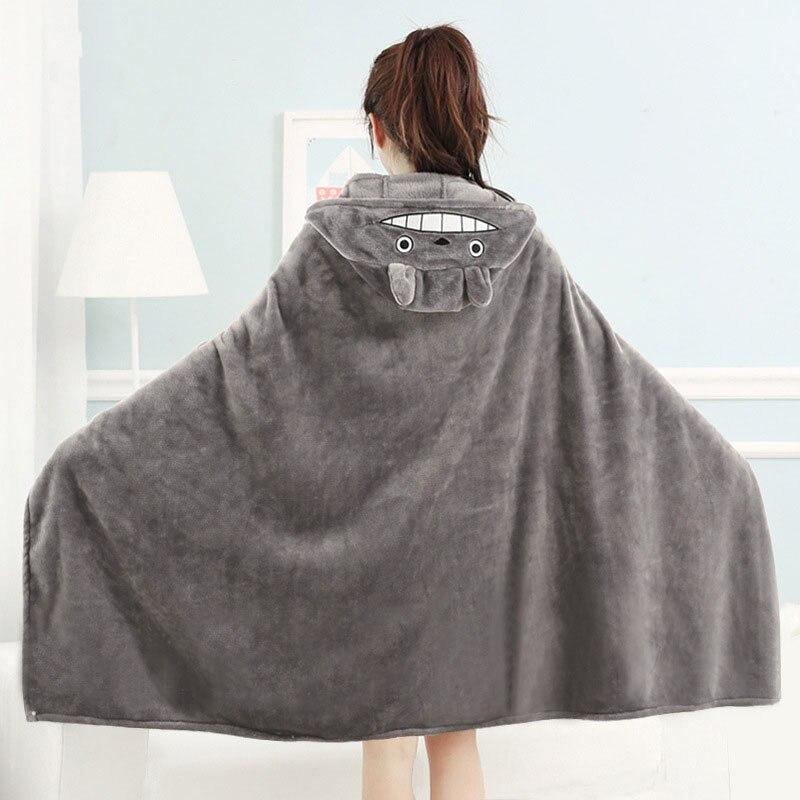 Kawaii Gray Totoro Hooded Blanket  1