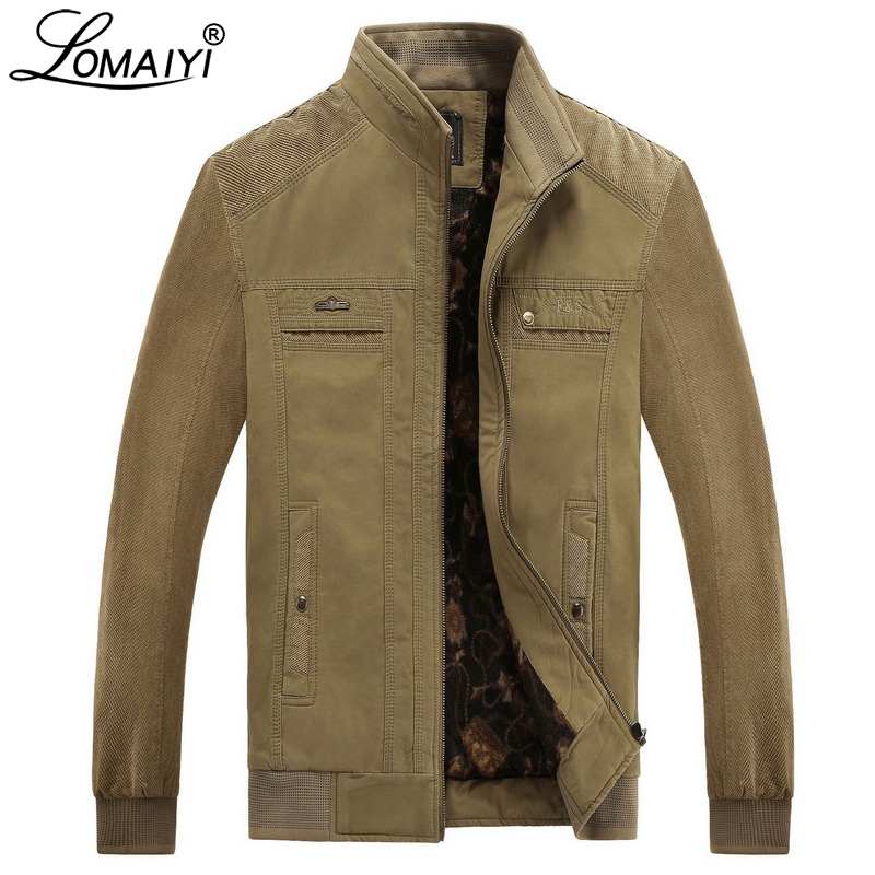 LOMAIYI Men's Winter Jacket Men Pure Cotton Stand Collar Coat Male Fleece Lining Jackets Mens Spring Casual Outerwear BM290