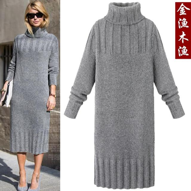 4ba3fd07b9 New super discount during the spring and autumn winter long dress is upset  Turtleneck loose knitting