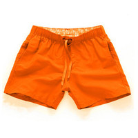 Orange-Men Beach Sport Swim Trunks Surf Swimwear Quick Drying Briefs