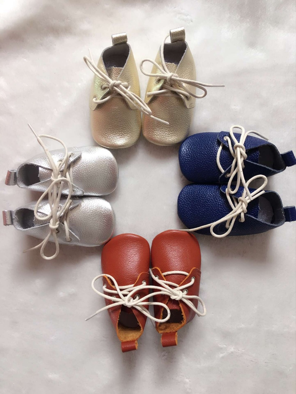 New solid Genuine Leather Baby Moccasins Shoes lace up Baby Shoes soft sole Newborn oxford first walkers Infant baby boot