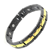 Fashion Black Gold Color Magnetic Bracelet Femme Care Elements Stainless Steel Classic Bio Magnet Therapy Bangle For Men