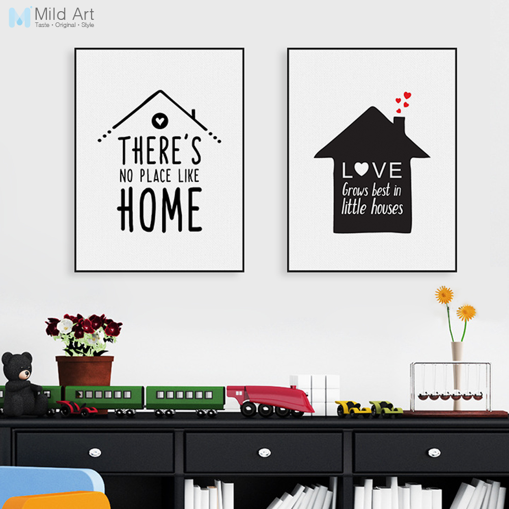 Nordic Minimalist Typography Love Quotes Art Print Poster Nursery Wall Picture Canvas Pa ...