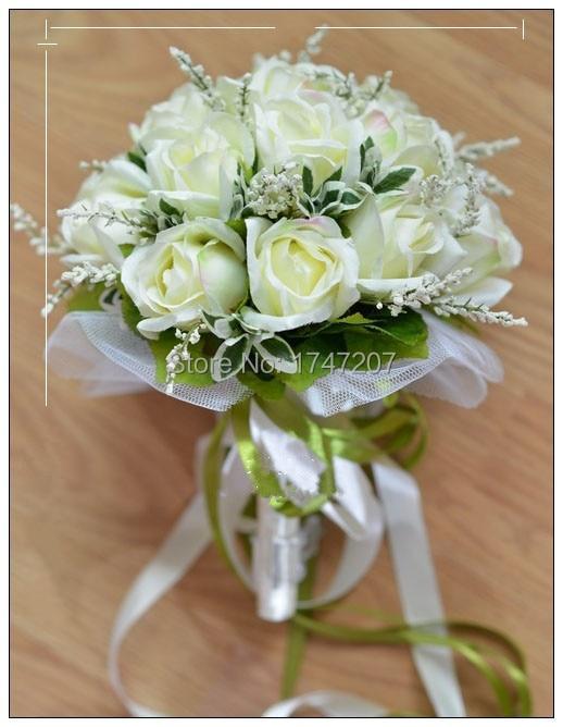 White rose brides hand bouquet Wedding bouquet simulation hand ...