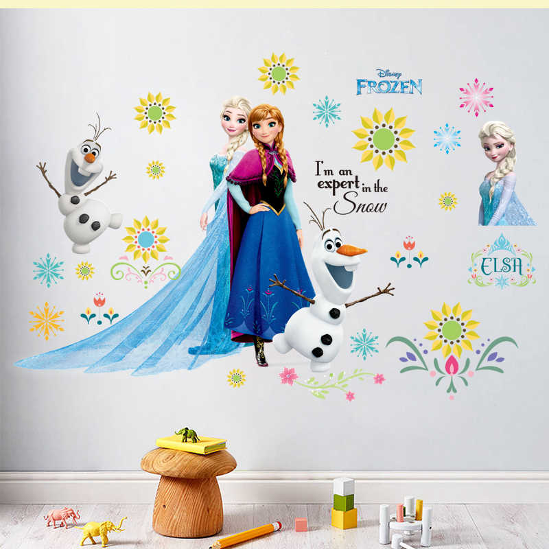 Cartoon Kids DIY Wall Sticker Frozen Princess Anna And Aisha Puzzle Children Room Decoration PVC Pegatinas Autocollant Enfant
