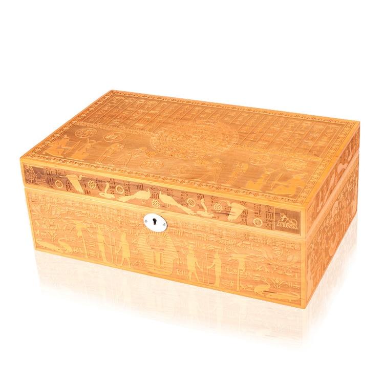 Nouveau luxe classique Super Fine sculpture processus cèdre bois cave à cigares jolie boîte de rangement W/humidificateur hygromètre
